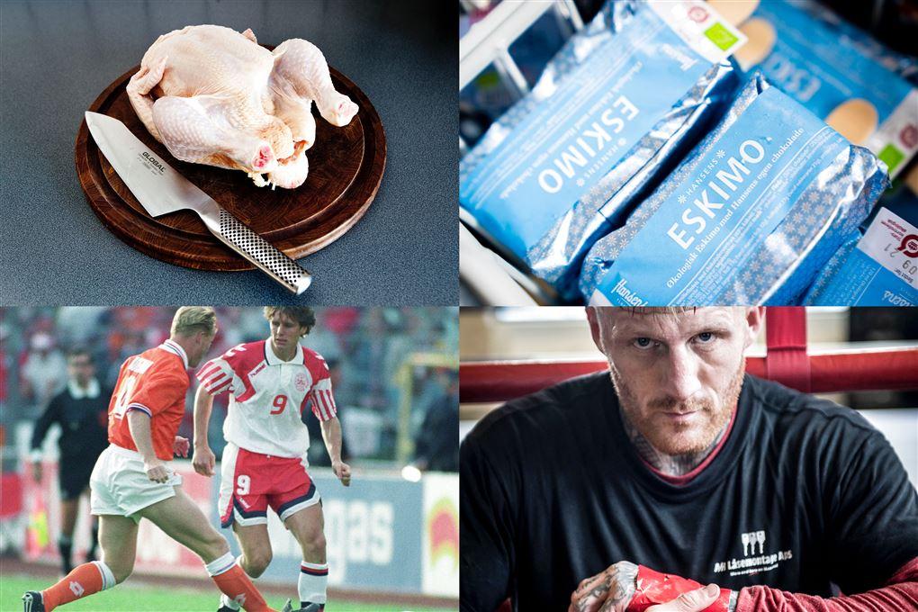 Et billede af en kylling, mundbind, fodboldrengene i 92 og en bokser.