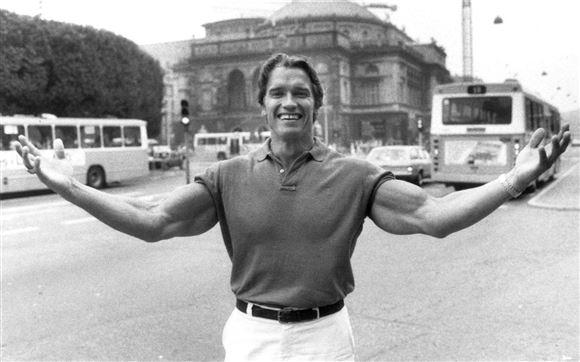 Arnold Schwarzenegger på Kongens Nytorv engang i 1970'erne