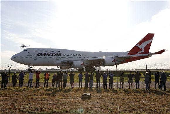 boeing 747 i Sydneys lufthavn inden den sidste tur
