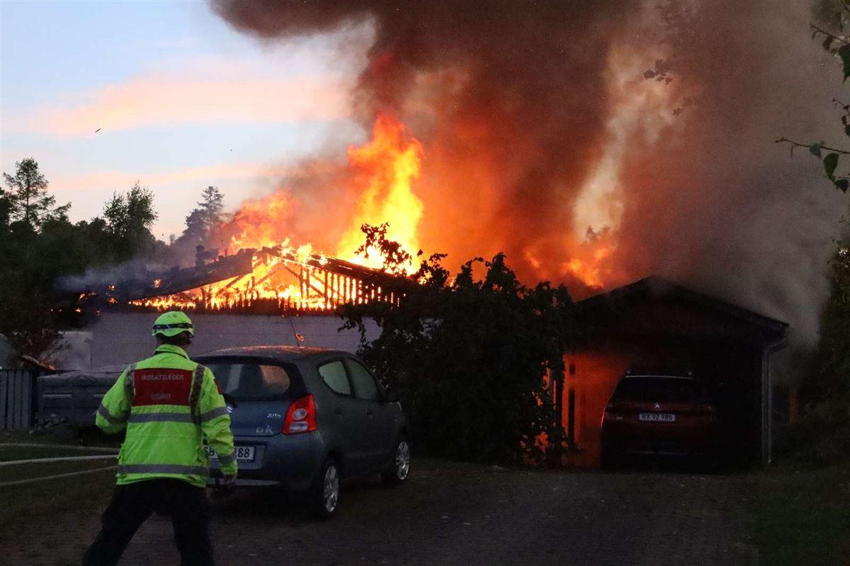 Brændende hus i Ebeltoft