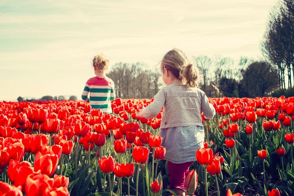 To børn der løber i en valmuemark