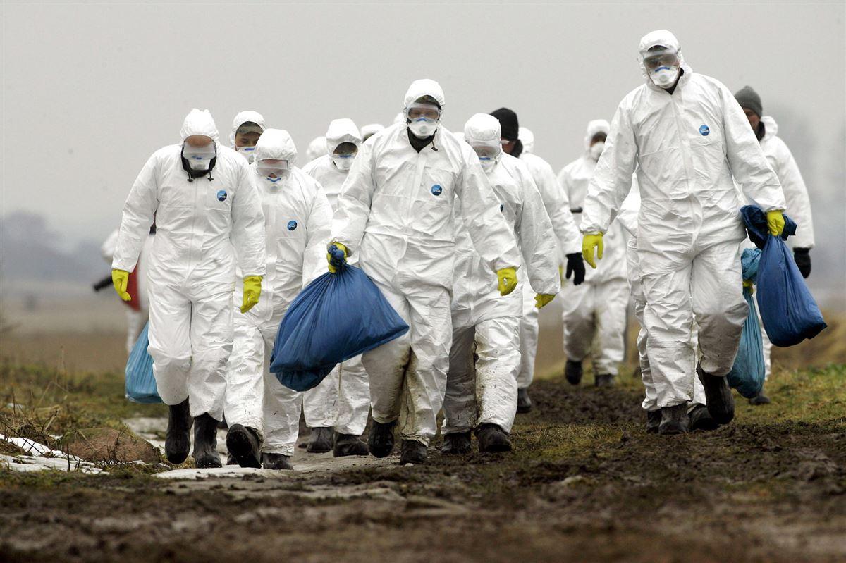 En flok mænd i hvide heldragter bærer på en blå sæk.