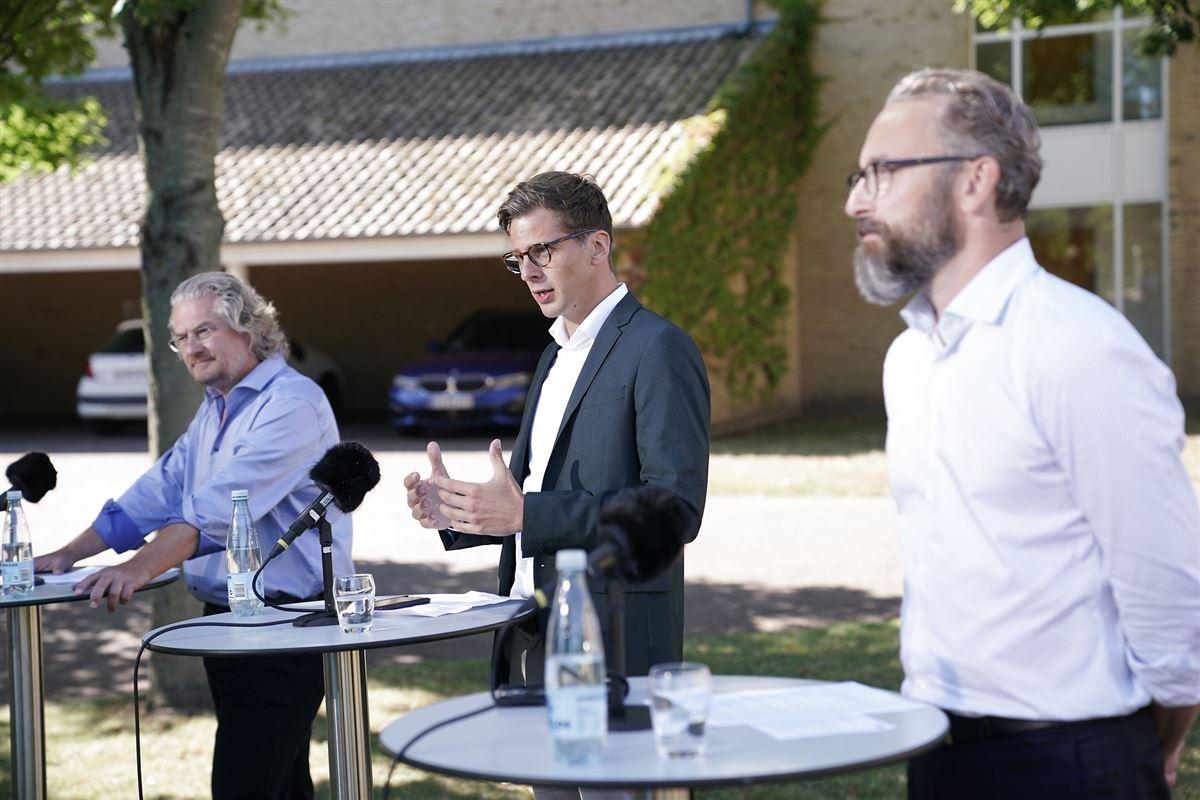 Sommerpressemøde med Liberal Alliances folketingsgruppe - Henrik Dahl, Alex Vanopslagh og Ole Birk Olesen