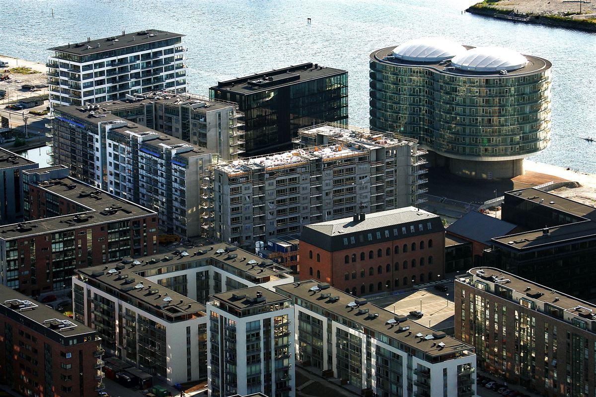 Boliger på Islands Brygge i København set fra luften
