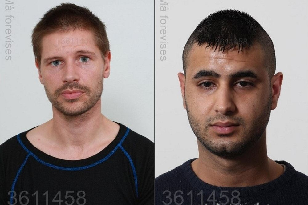 De to kriminelle mænd. 45-årige Mike Birkholm Bruus og 25-årige Omar Mohamad Metashar. Billederne er mugshots taget og frigivet af politiet.