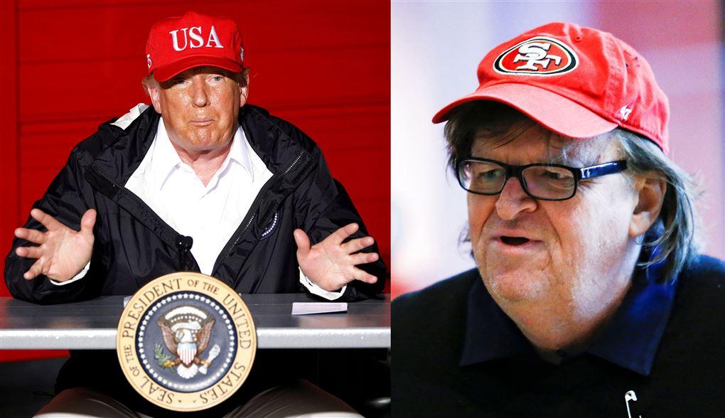 Donald Trump med rød kasket og Michael Moore med rød kasket