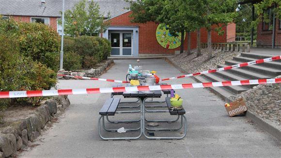 Billede fra ulykkesstedet på Allingåbroskolen