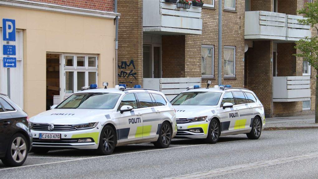 politibiler holder ude på gade