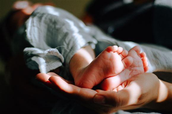 en hånd holder et par små nyfødte babyfødder