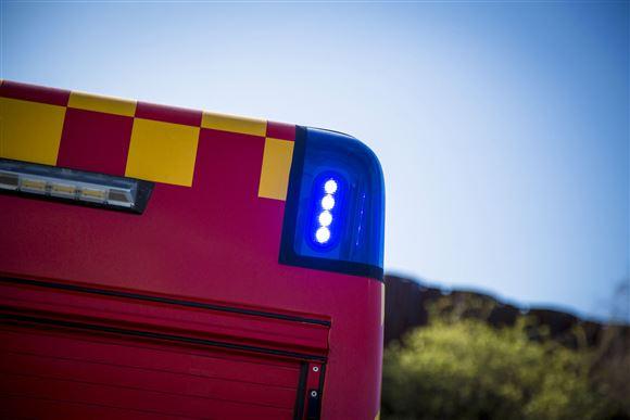 Et blåt blink på en brandbil