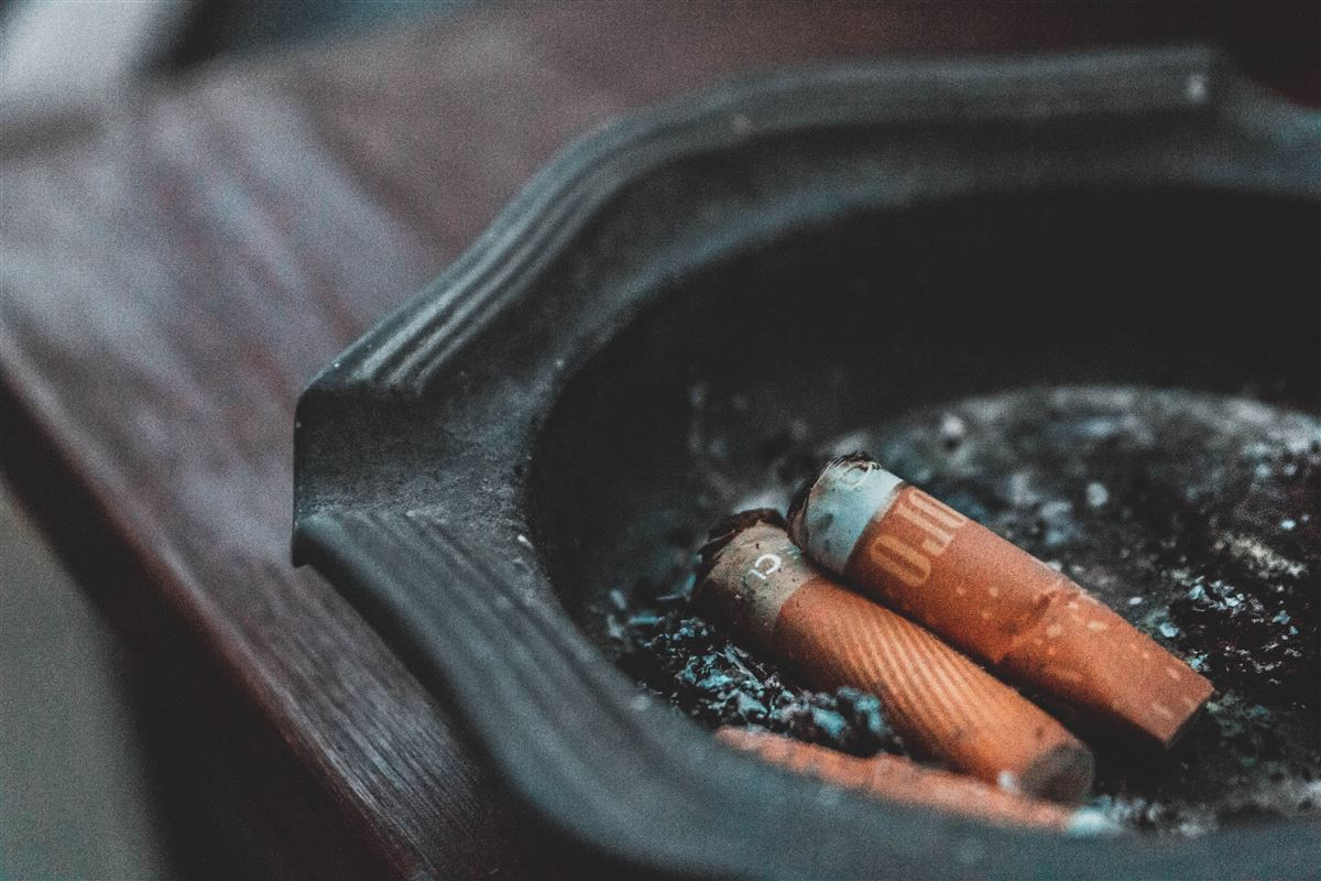 Et askebæger med to skoder i fotograferet tæt på