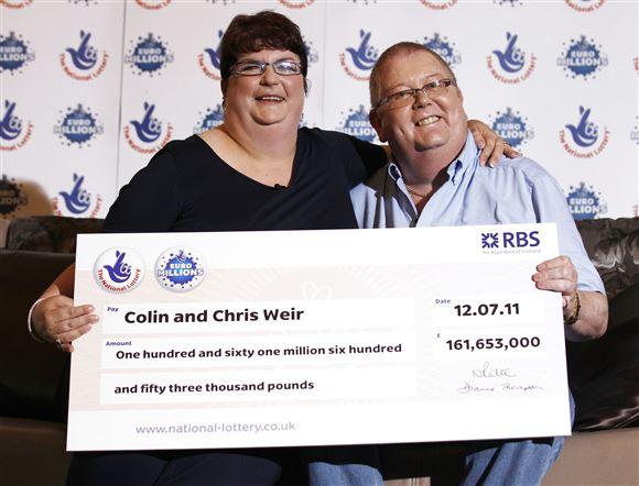 Det skotske ægtepar Colin og Christine Weir poserer med en check på 1,3 milliarder kroner efter at have vundet i lotto i 2011.