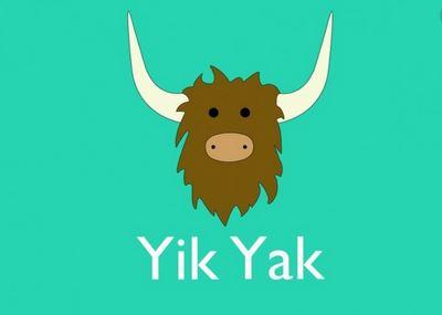 En yakokse tegnet og ordlyden Yik Yak