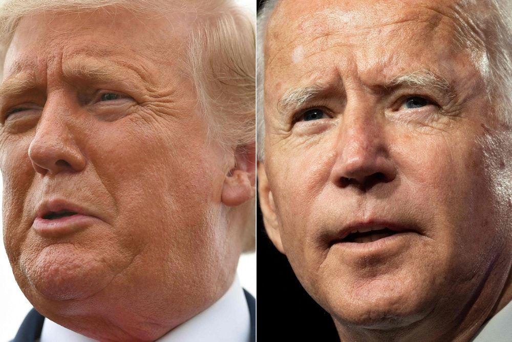 Sammenkopieret billede af Donald Trump og Joe Biden