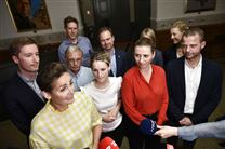 I forgrunden ses lederne af rød blok: Pia Olsen Dyhr SF, Pernille Skipper, Enhedslisten, Mette Frederiksen (Socialdemokratiet) og Morten Østergaard (Radikale))