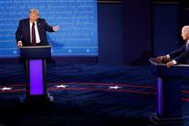 Trump og Biden ved hver deres talerstol