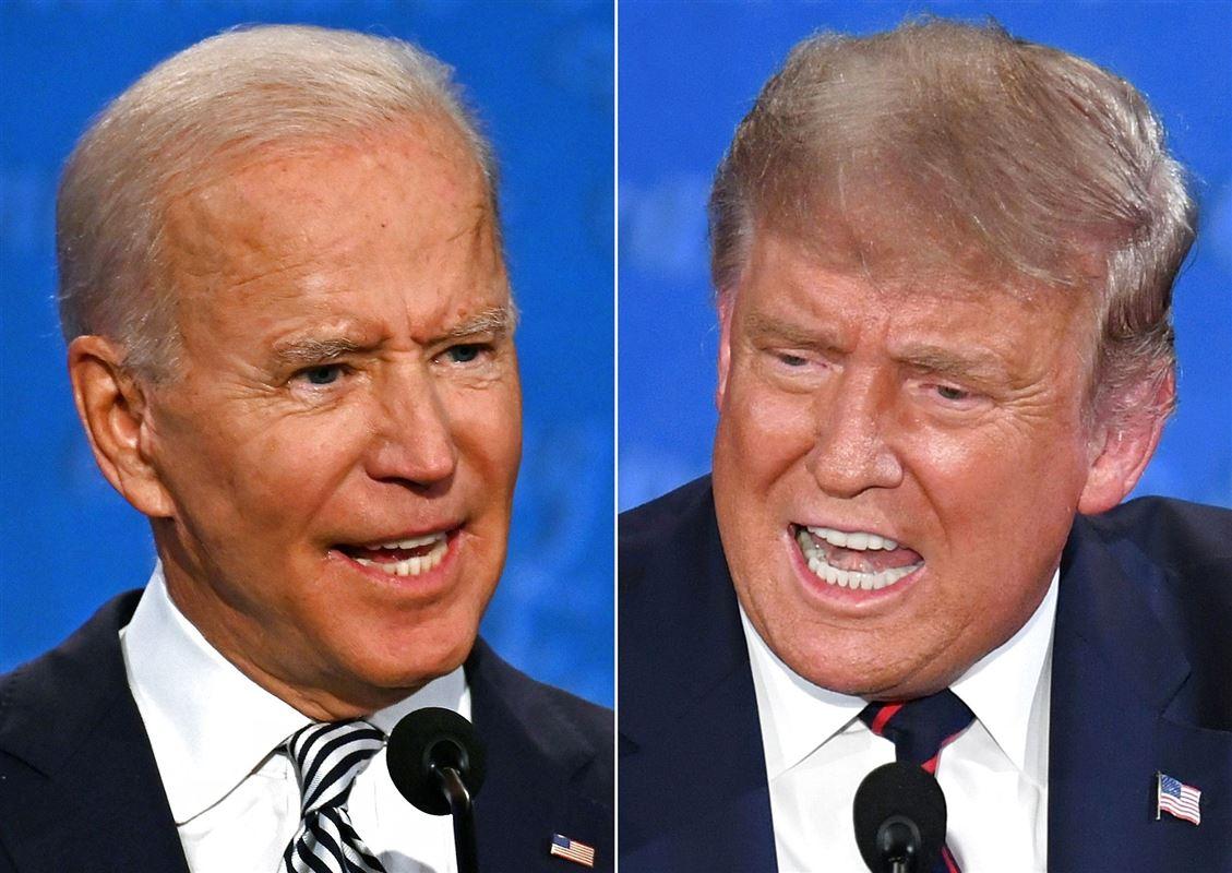 Nærbillede af de to præsidentkandidater Biden og Trump