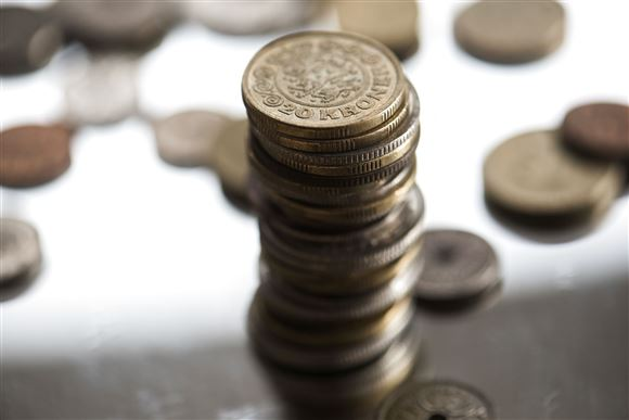 nærbillede af mønter