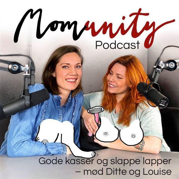 To kvinder i studiet med en animation af deres bryster.