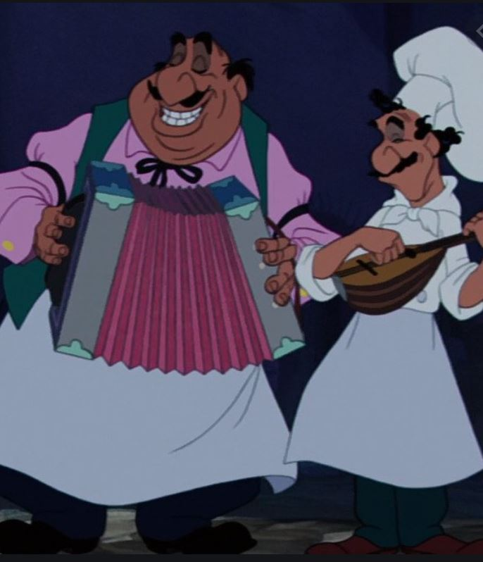 De italienske tjenere spiller og synger