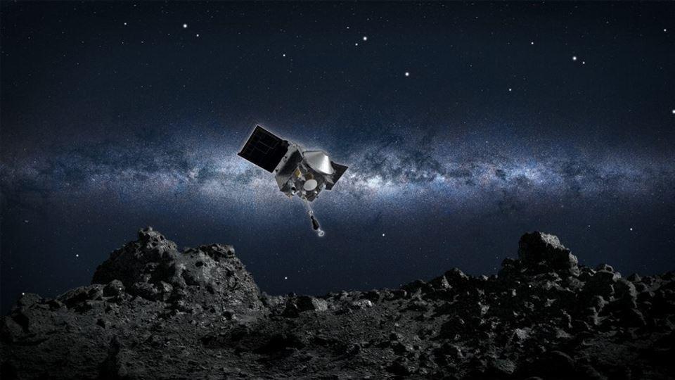 Illustration af rumfartøj der lander på asteroide
