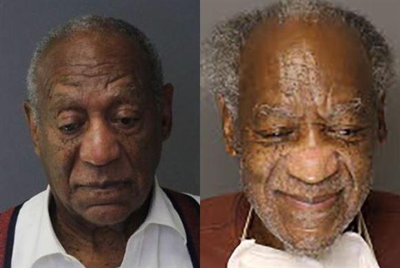 To forbryderfotos af Bill Cosby fra henholdsvis 2018 og 2020