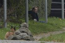 Peter Madsen sidende i noget græs i en grøft ved et fortov med hænderne bundet. Billedet er taget langt fra, men man kan tydeligt genkende ham. Foran ham ligger en skarpskytte med et gevær pegende mod ham. En schäfferhund ligger ved siden af skytten.