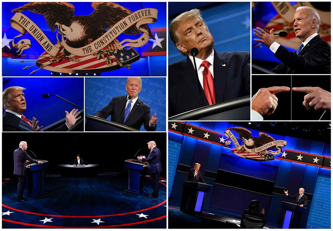 En mosaik af billeder af de to præsidentkandidater