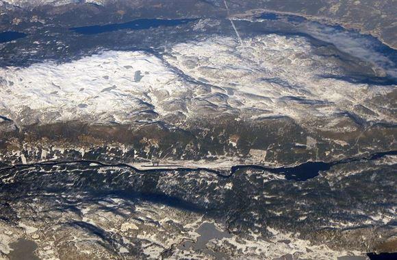 Norsk bjergområde set fra luften