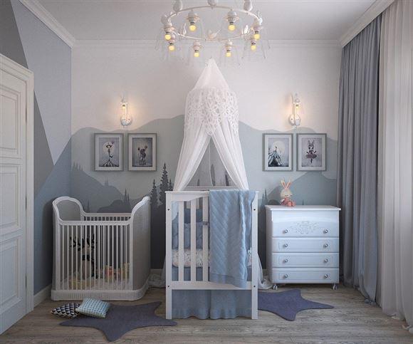 Et børneværelse med tremmesenge og lille kommode