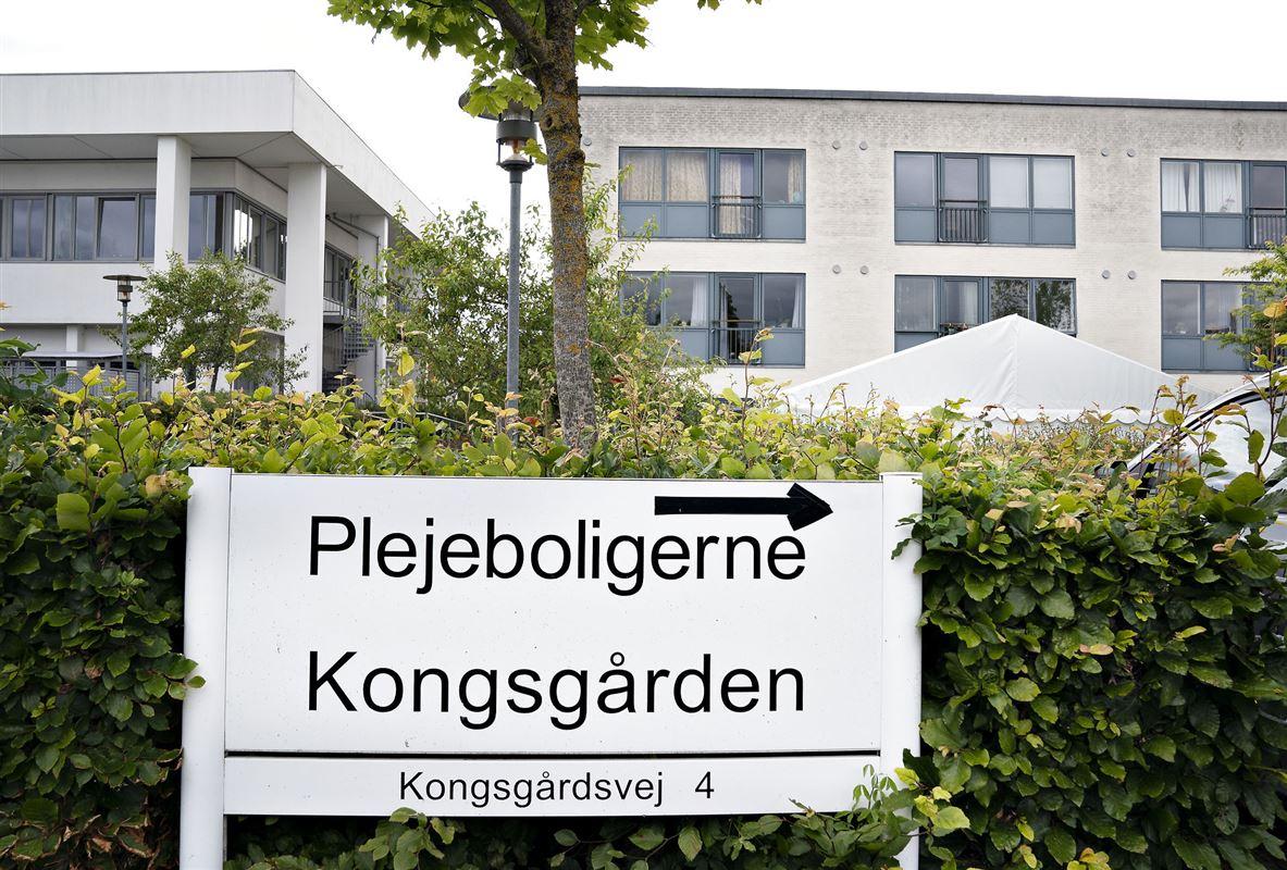 Skilt foran plejehjemmet Kongsgården i Viby ved Aarhus