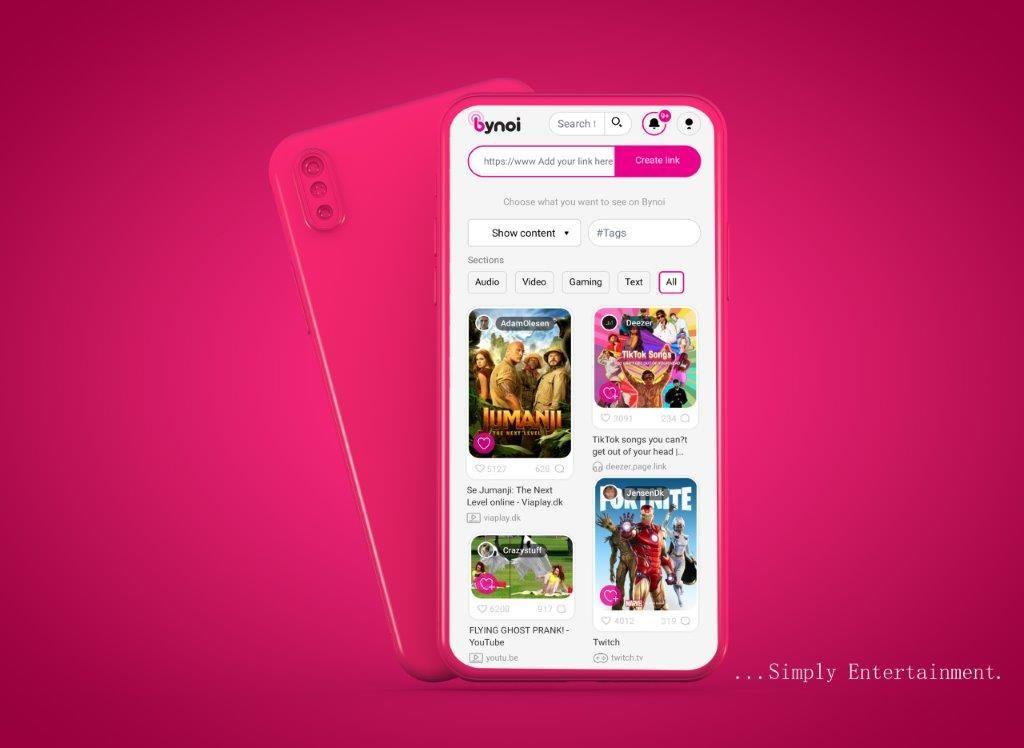 En skærm på pink baggrund