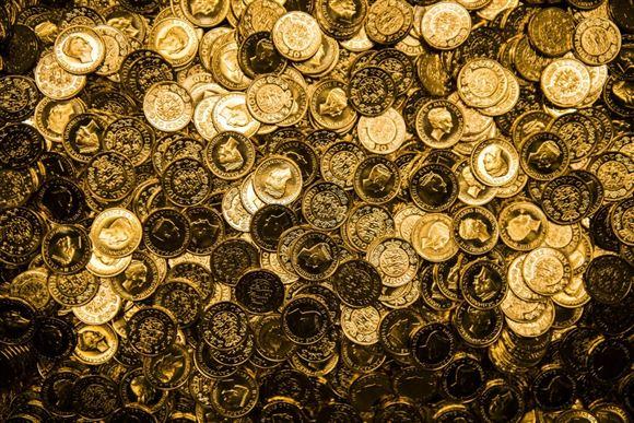 En masse gyldne mønter