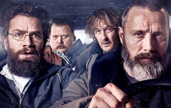 Fire danske skuespillere i en bil