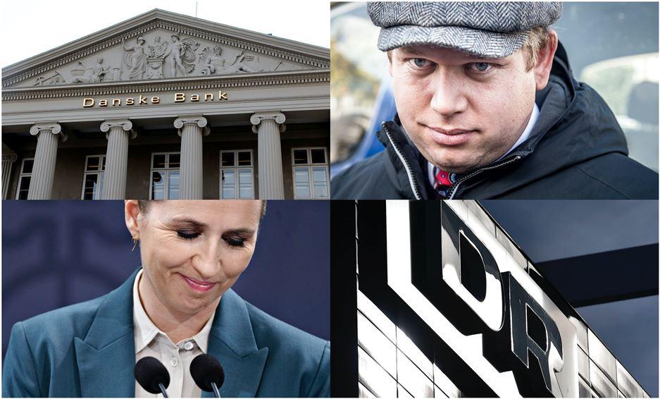 Potourri af hhv Danske Bank, DR, Rasmus Paludan og Mette Frederiksen