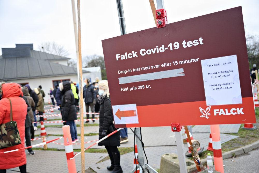 skilt med teksten Falck Covid-19 test