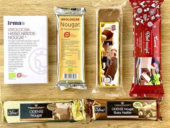 forskellige typer af nougat ligger på et bord