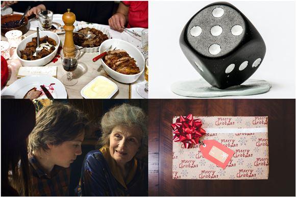 Collage med julefrokost, Julefeber, julegave og en terning