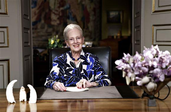 Dronning Margrethe under nytårstalen i 2020.