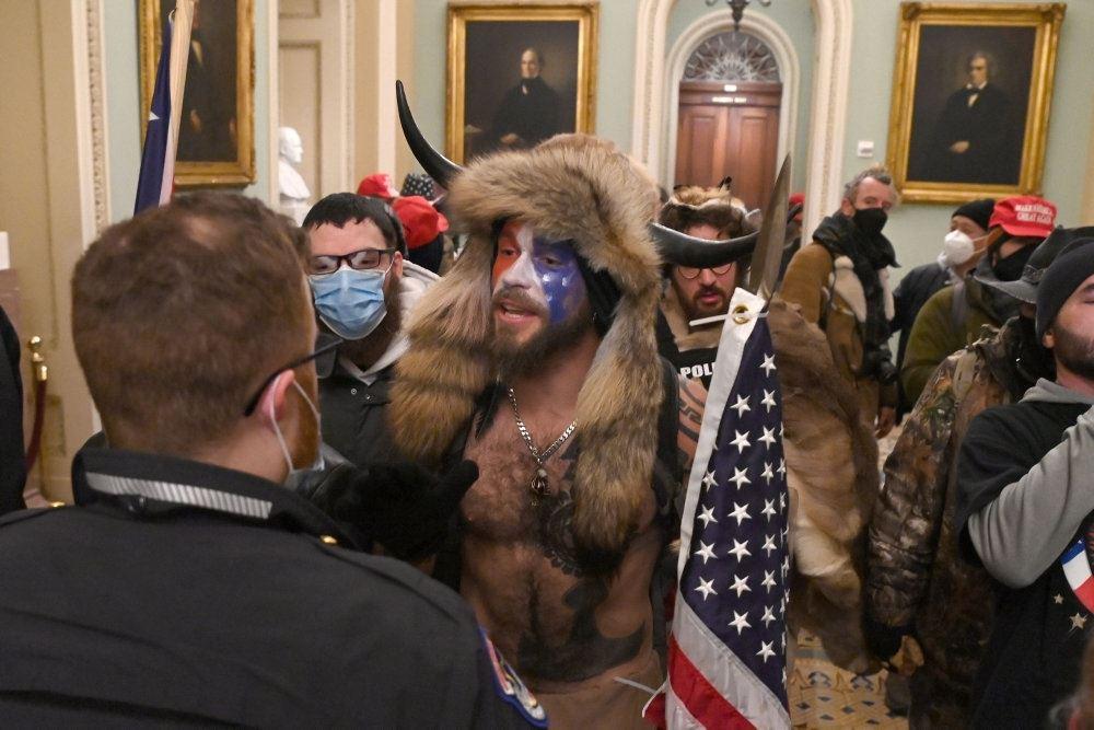 en udklædt demonstrant inde i den amerikanske kongres