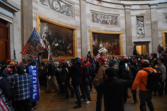 demonstranter inde i den amerikanske kongres