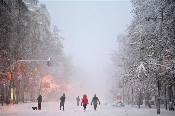 billede fra et snedækket Madrid