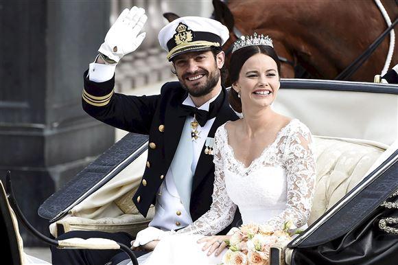 Prinsesse Sofia og Carl Philip i hestevogn