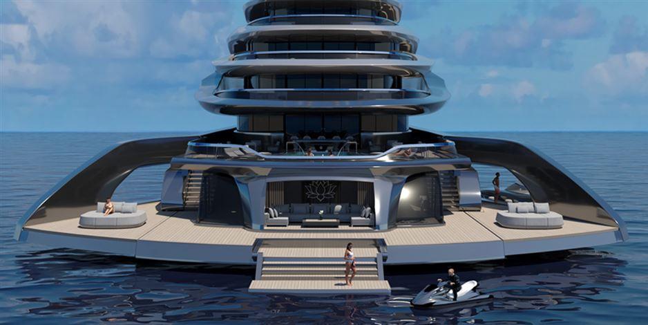 En enorm yacht med udslået agterstavn