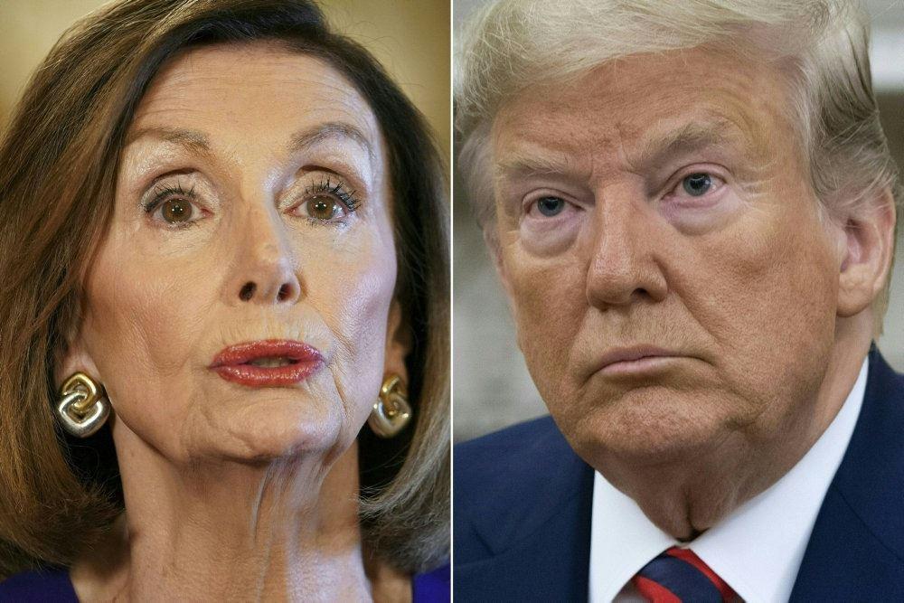 Et sammensat billede af Nancy Pelosi og Donald Trump.