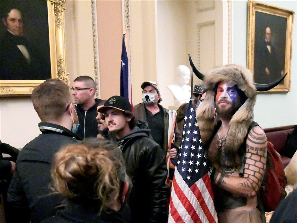 mand med ansigtsmaling og horn i panden sammen med andre demonstranter