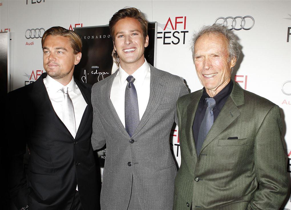 Armie Hammer fotograferet sammen med Leonardo DiCaprio og Clint Eastwood