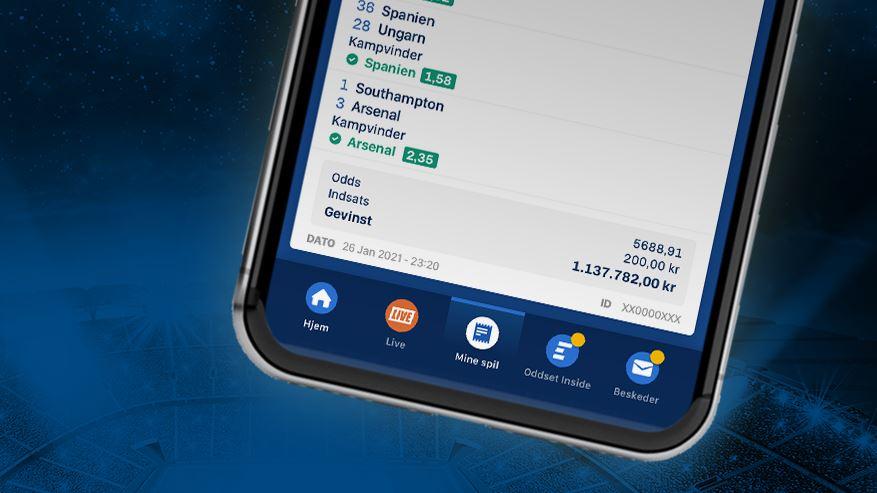 oddset-kupon set på mobiltelefon