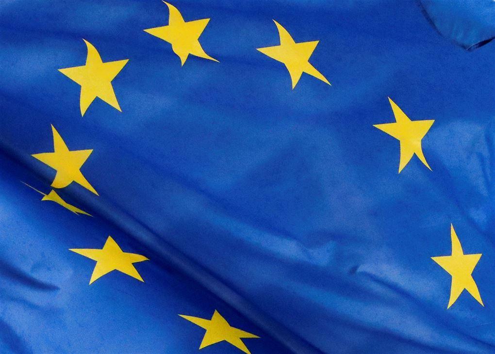 Et blåt EU flag med gule stjerner