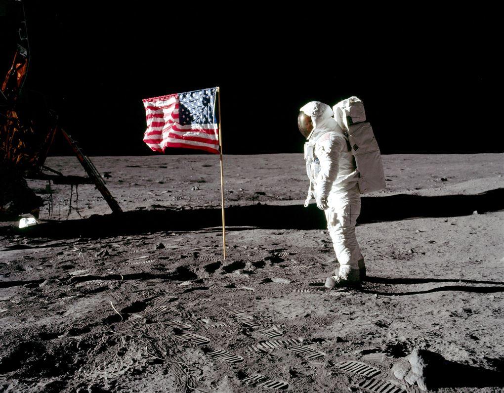 billede af Buzz Aldrin på månen